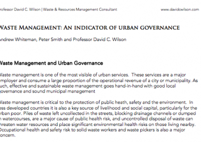Waste Management – An Indicator of Urban Governance