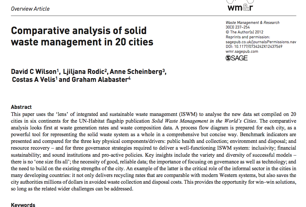 Comparative analysis of solid waste management in 20 cities