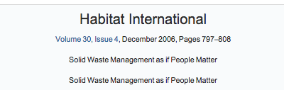 Role of informal sector recycling in waste management in developing countries