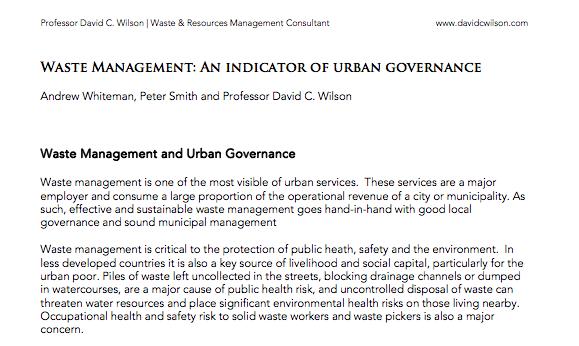 Waste Management – An Indicator of Urban Governance